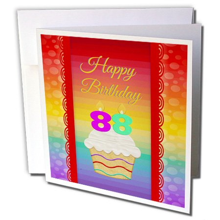 (3dRose Cupcake with Number Candles, 88 Years Old Birthday - Greeting Card, 6