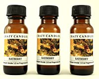 Bayberry 3 Bottles 1/2 FL Oz Each (15ml) Premium Grade Scented Fragrance Oil by Crazy Candles