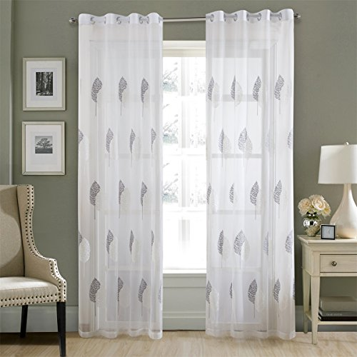 Dreaming Casa White Silver Leaves Embroidery Window Sheer Curtains for Living Room, Grommet Top Curtain Drapes for Bedroom-52 inch Width by 63 inch Length-Set of 2 Panels (Leaf Embroidery Design)