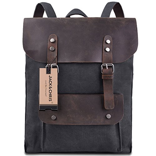 Jack&Chris Vintage Canvas Leather Shoulder Bag Backpack Weekender Bag Rucksack Satchel, MC2166 (darkgrey)