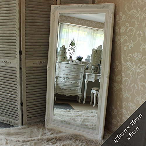 Delightful Extra Large White Ornate Wall/Floor Mirror