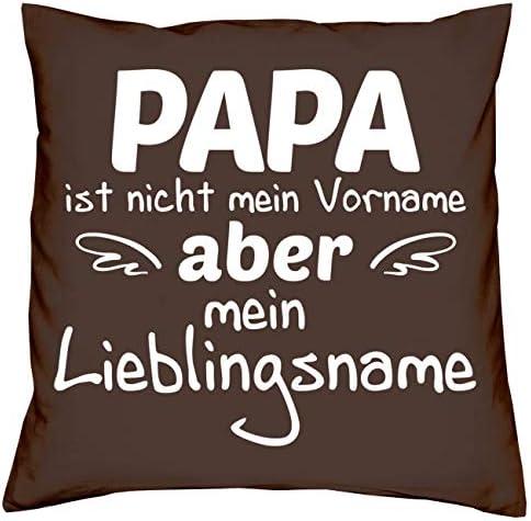 Geschenk-Set Socken mit Bier Spruch bring me a cold beer plus Kissen Papa Lieblingsname braun