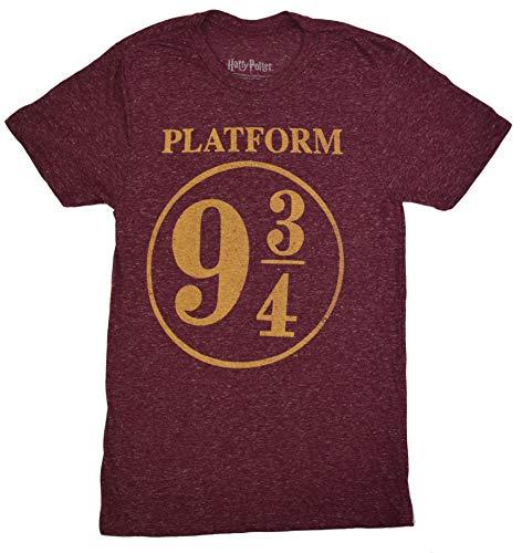 HARRY POTTER Platform 9 3/4 Adult Soft Tee Polyester T-Shirt (Heather Maroon,Medium)