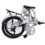 "Giantex 20"" Folding Bike 6 Speed Bicycle Storage Silver School Sports Shimano"