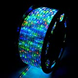 WALCUT Flexible 150FT Crystal Clear PVC Tubing LED Rope Light Indoor/Outdoor Boat Decorative Party Christmas Holiday Business Restaurant Light Kit 110V (Multi-Color)