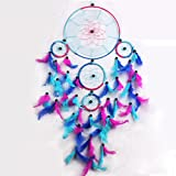 Blue Red Dream Catcher Wall Hanging Decorations, Malicosmile Indian Dream Catchers Large Feather Decor