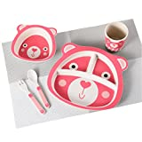 BAMBOO KIDS Meal Set | Plate Set Toddler Dinner Set Eco-Friendly Bamboo Dishes Food-Safe Feeding Set for Toddlers and Little Kids Bunny Character (Bear)