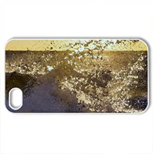 Malibu Beach at Sunset - Case Cover for iPhone 4 and 4s (Beaches Series, Watercolor style, White)