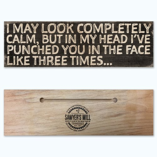 Punched You in the Face Like Three Times - Handmade Wood Block Sign with Quote - Hilarious Desktop Signs
