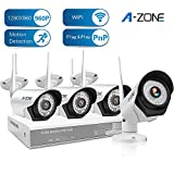 A-ZONE 4 Channel 960P NVR Wireless Security System Indoor Outdoor Weatherproof 4x HD 960P WiFi Cameras with Night Vision, Easy Remote View ,Without HDD