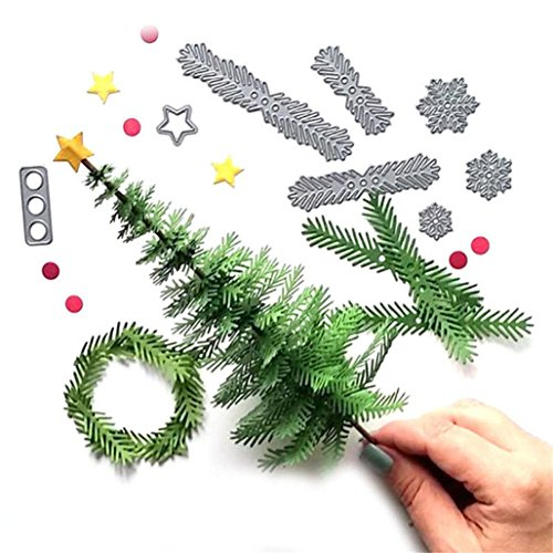Cutting Dies, Christmas Tree Wreath Metal Cutting Dies Stamp Stencil DIY Scrapbooking Embossing Album Paper Card Craft-Febecool