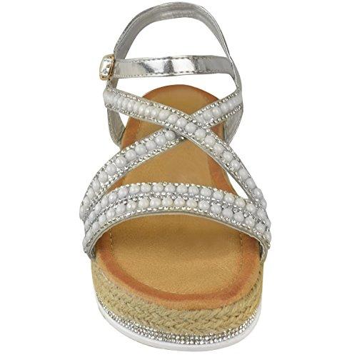 Bout Fashion Fête plateforme métallisé Strass Sandales Été à Plates Femme Thirsty Ouvert Argenté Vacances HXrH8A1