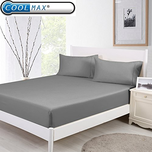 CoolmaX & Cotton Cooling Fitted Sheet w/Pillowcase Breathable Stay Cool for Maximum Comfort 152x203CMx46CM