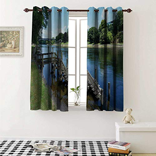 shenglv Outdoor Waterproof Window Curtain Waikato River Hamilton City New Zealand Holiday Destination Travel Landmark Curtains for Party Decoration W84 x L72 Inch Green Blue Grey]()