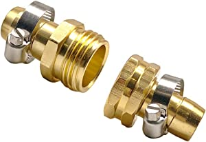"""REGNHLIF Garden Hose Connector Repair Mender Kit with Stainless Clamp,Fits 3/4""""-5/8"""" Water Hose Fitting"""