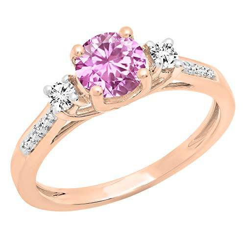 Dazzlingrock Collection 10K 5 MM Lab Created Pink & White Sapphire & Diamond Ladies Engagement Ring, Rose Gold, Size 8 (Rose Gold And Pink Sapphire Ring)