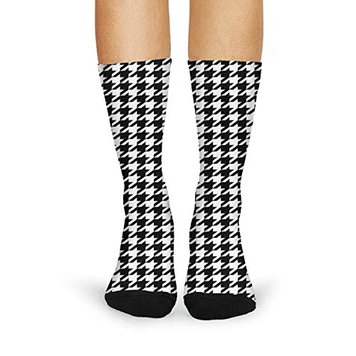 Tasbon Women's Athletic Socks Plaid printing Houndstooth Black and white Classic Breathable Comfort Crew Socks -