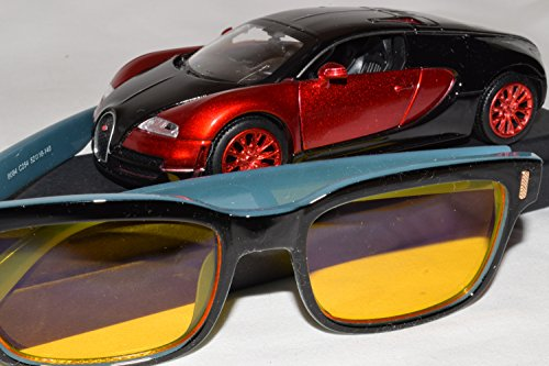 Driver-Rx 'Mercedes' -Special DESIGNER Driving Glasses with Amber Tint Helps Your Vision While Driving Blue Ray, UV Protection, Anti Fatigue, Relieves Eye Strain. Stylish, Unisex. FREE Case & - Eyeglasses Amber