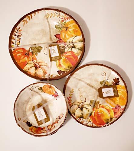 Rachel Ashwell Thanksgiving/Autumn 12-Piece 100% Melamine Dinnerware Set (Dinnerware Harvest)