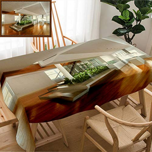 - Skocici Unique Custom Design Cotton and Linen Blend Tablecloth Empty Room of Residence with an Atrium Center and Hardwood FloorsTablecovers for Rectangle Tables, Large Size 86