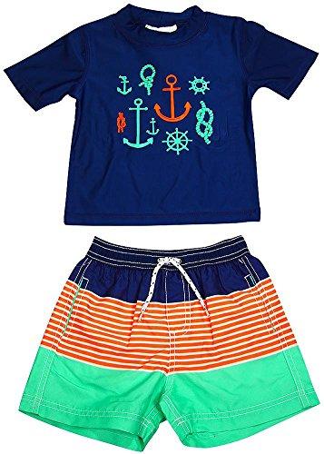 Carter's - Baby Boys 2PC Short Sleeve Anchor Rashguard Swim Set, Navy, Aqua 38832-18Months