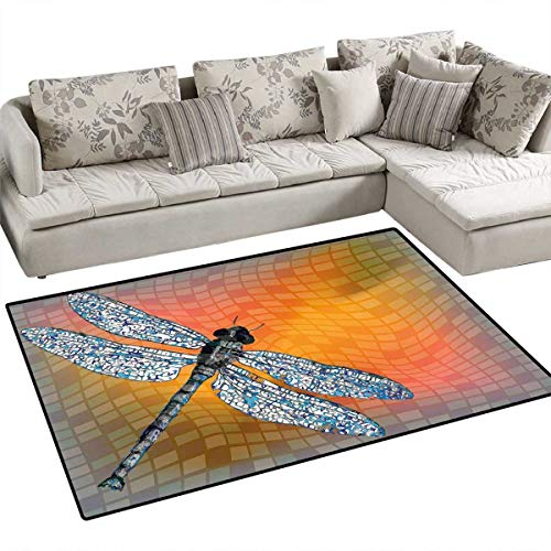 Dragonfly Door Mats Area Rug Bird Like Bugs Flying on Orange Marigold Abstract Geometrical Digital Backdrop Bath Mat Non Slip 48