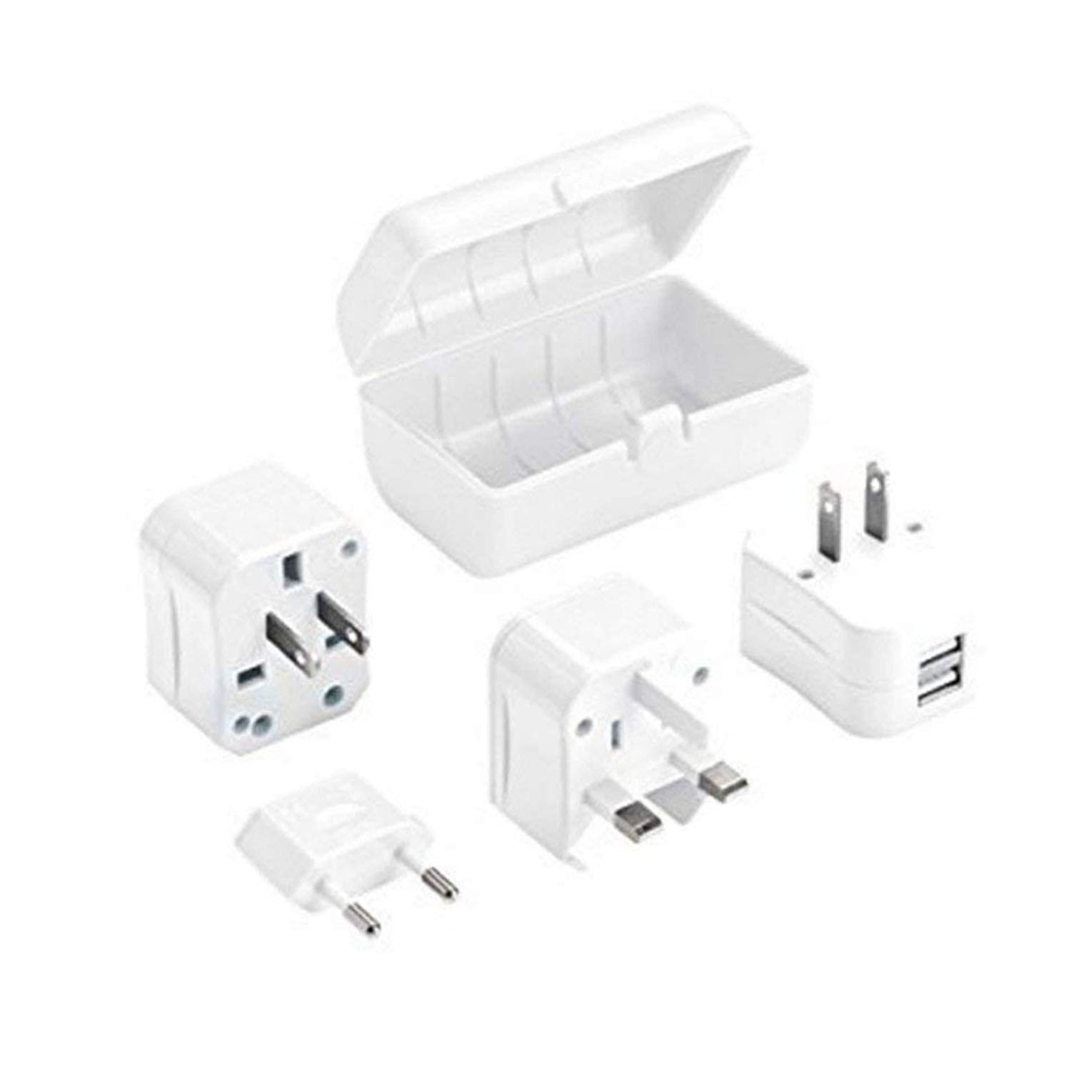 Ailuner Travel Adapter with Dual USB Plug Outlet, Worldwide Power Converter Adapter,International Universal AC Wall Outlet USB Plug Charger Socket Set for Europe UK AU. (Black)