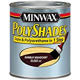 Minwax 214804444 PolyShades - Stain & Polyurethane in 1 Step, 1/2 pint, Bombay Mahogany, Gloss