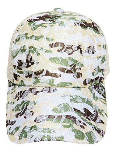 Lace Overlay Camo Design Baseball Beige Trucker Cap Hat Headwear Western