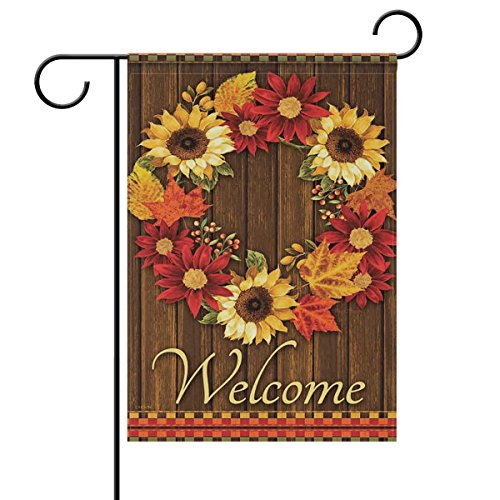 - ALAZA Welcome Wreath Sunflower Maple Leaves Cabin Double Sided Garden Yard Flag 12