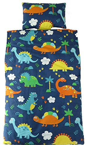 SnugBugs Daycare Sleeping Bag Tot Nap Mat, Features Built-in Blanket and Pillow, Perfect for Daycare and Preschool or Napping On-The-Go (Dinosaur) ()