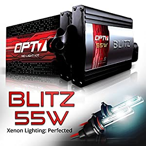 OPT7 Blitz 55w H11 H8 H9 HID Kit 5x Brighter - 4x Longer Life - All Bulb Colors and Sizes - 2 Yr Warranty [5000K Pure White Xenon Light]