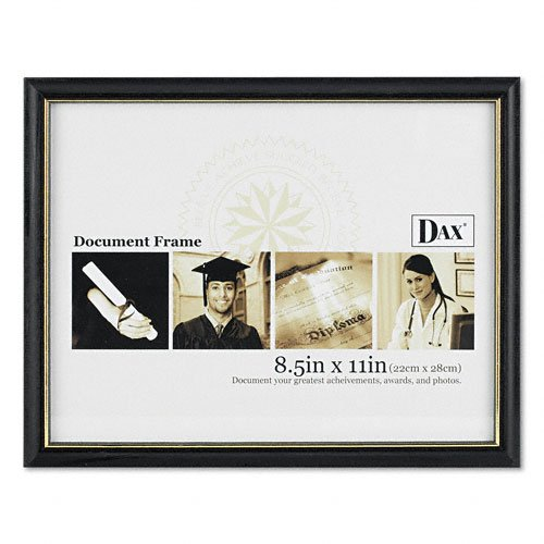 DAX Two-Tone Document/Diploma Frame, Wood, 8.5 x 11 Inches, Black with Gold Leaf Trim (N17981BT)