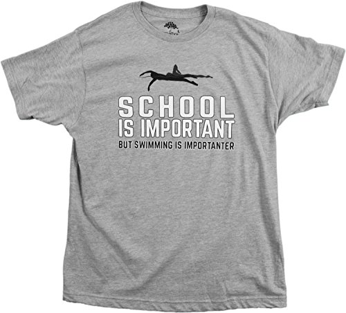School is Important but Swimming is Importanter | Funny Swim Team Unisex T-shirt-(Adult,L)