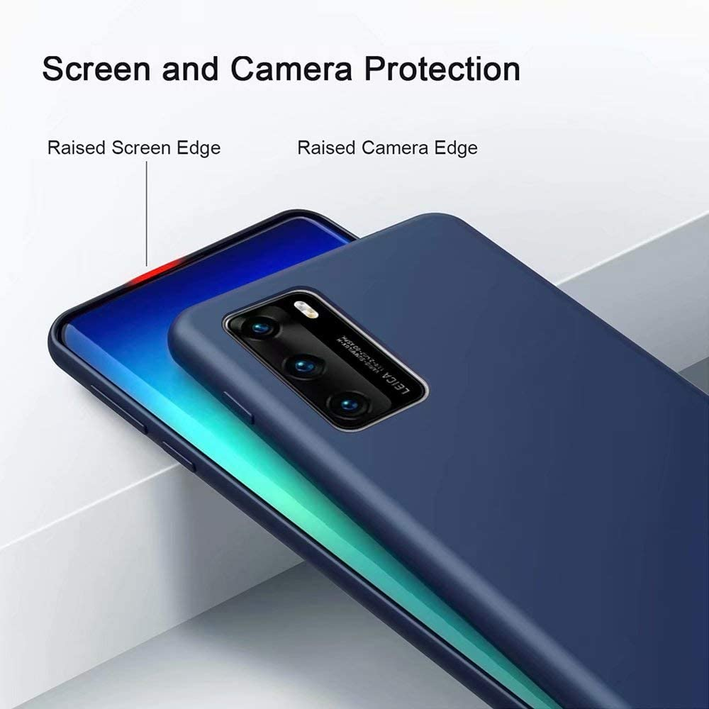 KSHOP Case Compatible with Huawei p40 5G,Slim Liquid Silicone Gel + [Screen Protector] Rubber Soft Touch Cover Full Protectivewith Soft Microfiber Cloth Lining Cushion Blue-YS