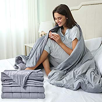 Image of Cooling Weighted-Blanket 20 lbs Gray - 60x80 Inch Heavy Queen / Full Size 2 Piece Set, Glass Beads Filled Comfortable Premium Calming Weighted Blanket with Washable Cotton-Mink Blanket Cover Sleep Mantra B07S5K1K28 Weighted Blankets