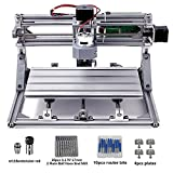 Nuoxinus DIY CNC Router Kits 3018 GRBL 3 Axis Control Wood Carving Milling Engraving Machine with 5mm Extension Rod + ER11 + 20PCS CNC Router Bits + 4 Sets CNC Plates