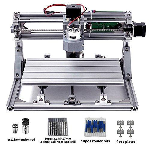 Nuoxinus DIY CNC Router Kits 3018 GRBL 3 Axis Control Wood Carving Milling Engraving Machine 5mm Extension Rod + ER11 + 20PCS CNC Router Bits + 4 Sets CNC Plates