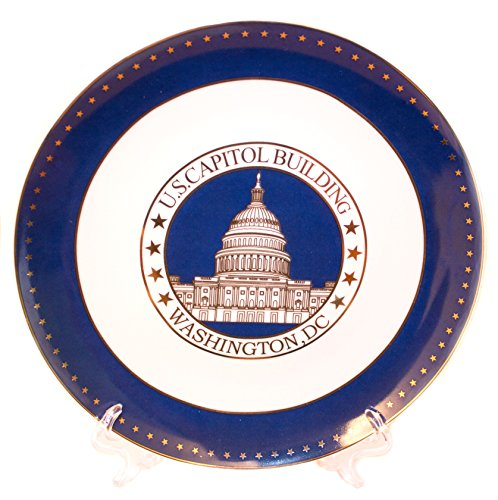 Stunning Ceramic US Capitol Plate with Display Stand