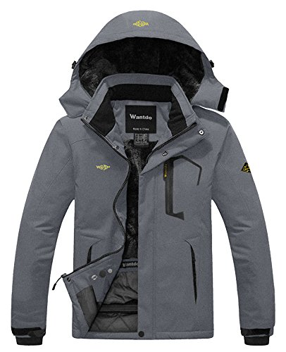 Snowboard Hood Jacket (Wantdo Men's Waterproof Fleece Ski Jacket Windproof Rain Jacket Snowboarding Jacket Dark Grey M)