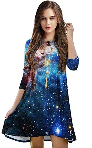 (Jescakoo Half Sleeve Knee Length Tunic Dress Blue Galaxy Printed for Daily)