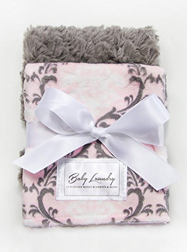 Baby Laundry Patterned Burping Cloth for Boys Girls, Set of 2 - Damask Blush/Gray Tile Burpie (Damask Clothes)