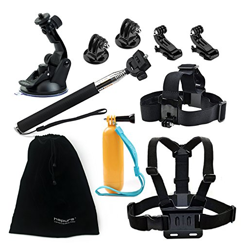 Hapurs 8-in-1 Accessories Kit for Gopro Hero 4 Black / Silver Hero HD 3+/3/2/1 Camera Xiaomi Xiaoyi SJ4000 SJ5000 sport camera, Head Belt Strap Mount + Chest Belt Strap Mount + Extendable Handle Monopod + Car Suction Cup Mount Holder + Floating Handle Grip + 2 PCS Tripod Mount Adapter + 2 PCS Gopro Surface J-Hook + Hapurs Pouch