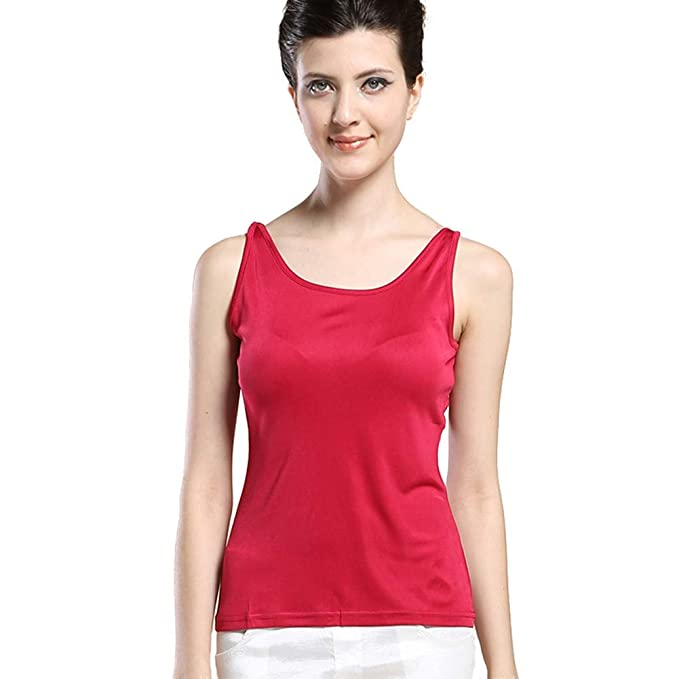 a44f102cbbde0 Forever Angel Women s 100% Silk Knitted Casual Tank Warm Red Size XS