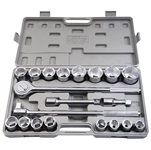 21Pcs Sae 3 4  Drive Socket Wrench Tool Set With Storage Case Jumbo Ratchet Wrench Extension Flexible Breaker Bar Mechanics Craftsman Universal Tools Heavy Duty And Durable