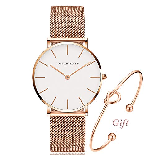 Se White Dial - Women's Rose Gold Watch Analog Quartz and Pink Leather Band Casual Fashion Classic White Ladies Wrist Watches