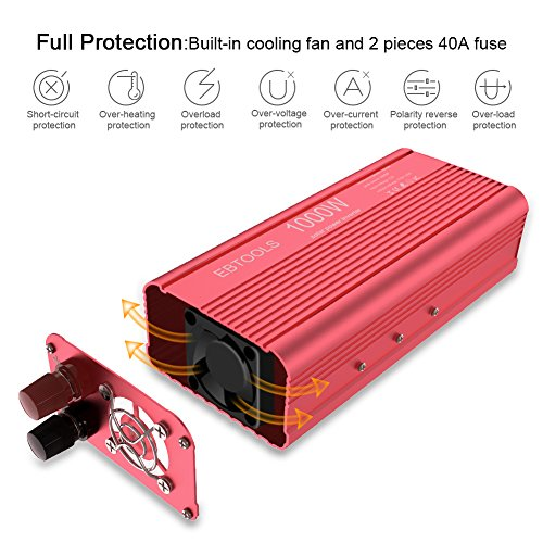 EBTOOLS Car Power Inverter, 1000W/2000W Inverter 12V DC to 110V AC Car Converter with 2 AC Outlets and 2.1A USB port for Laptop, Smartphone, Household Appliances in case Emergency, Storm and Outage by EBTOOLS (Image #4)
