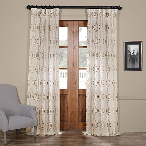 (Half Price Drapes SHCH-SLWE5296-96 Embroidered Faux Linen Sheer Curtain, Suez Bronze)