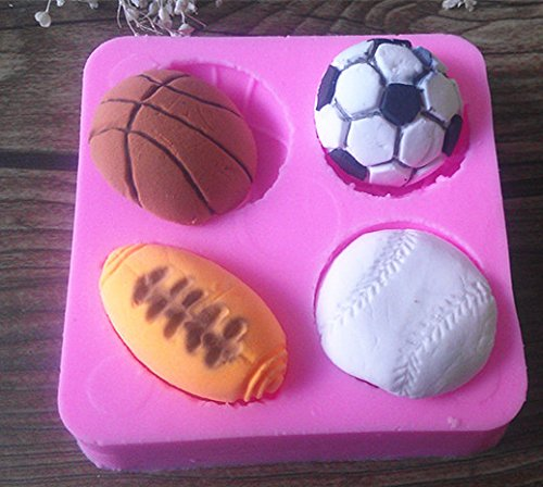 Design 535 Football, Rugby ,Basketball&Tennis Silicone Mold,Sugar Mold,Chocolate Mold, Cake Decoration Tool