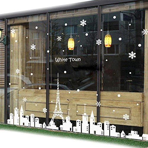 indow Stickers Glass Door Stickers Wall Sticker Tea Shop Clothing Store Shop Sticker-Christmas Wall Decoration Snow Snow Flakes Stickers , mega ()